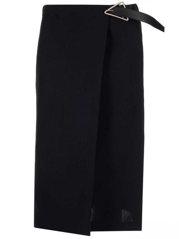 Bottega Veneta Triangle Buckle Belt Midi Skirt