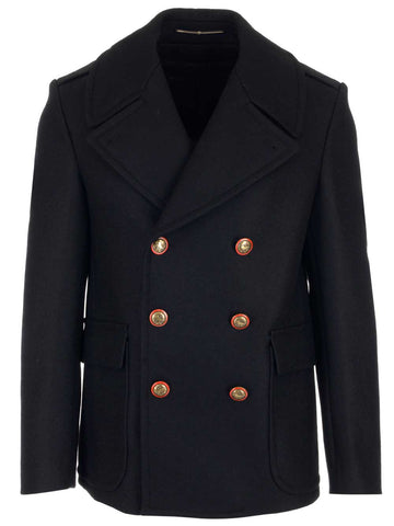 Givenchy Double Breasted Blazon Button Peacoat