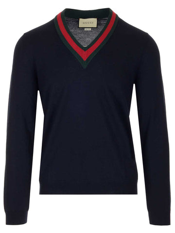 Gucci Striped Trim V-Neck Sweater