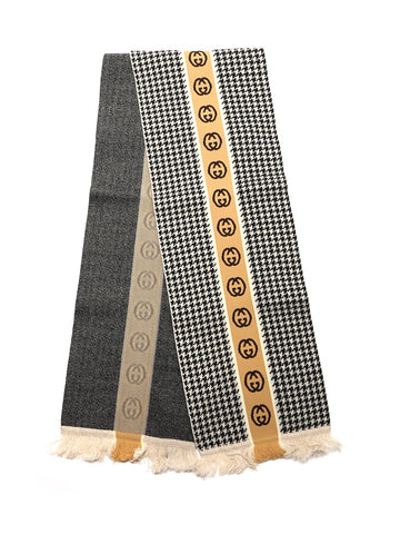 Gucci GG Houndstooth Patterned Scarf