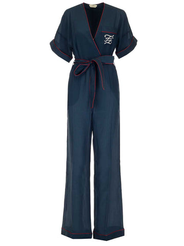 Fendi FF Embroidered Wrap Jumpsuit