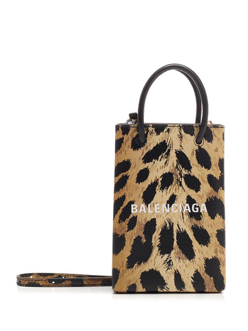 Balenciaga Leopard Printed Phone Holder