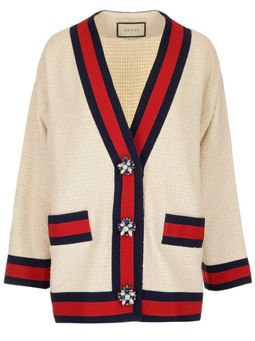 Gucci Striped Trim Oversize Tweed Cardigan