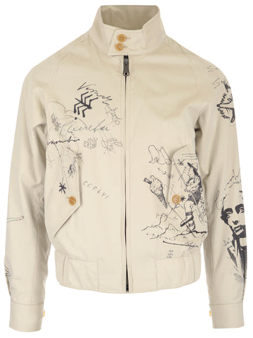 Burberry Doodle Sketch Harrington Bomber Jacket