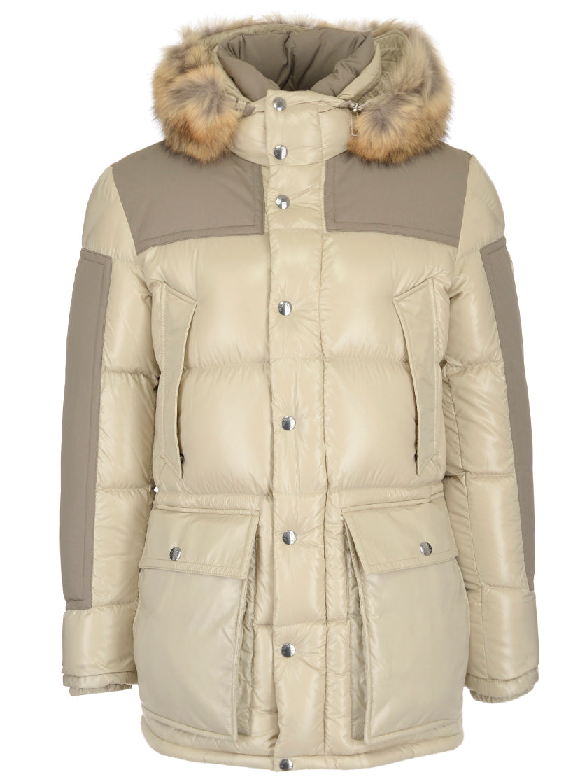 MONCLER Hooded Padded Jacket, Beige