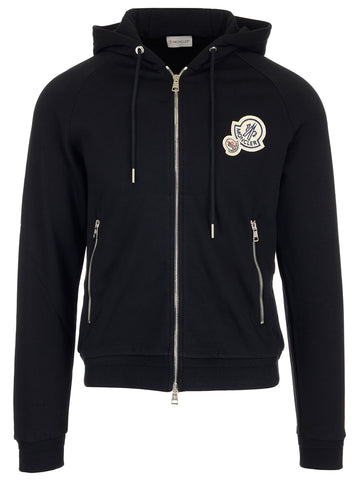 Moncler Logo Patch Zip Hoodie