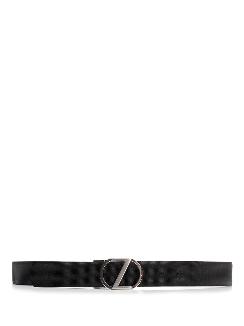 Ermenegildo Zegna Logo Buckle Belt in Black