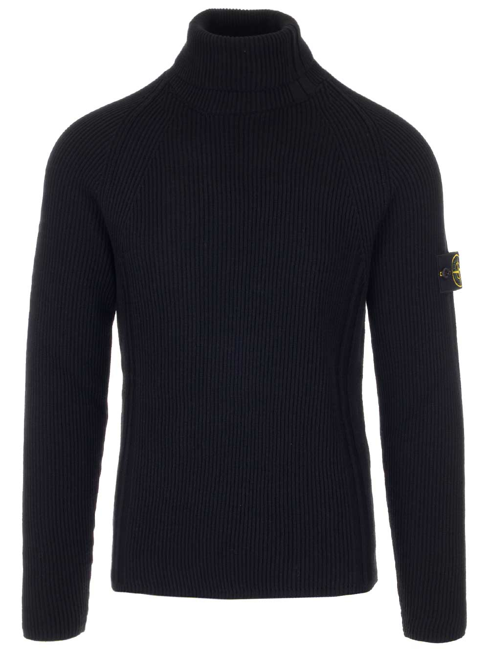 Stone Island Tops STONE ISLAND RIBBED TURTLENECK LOGO PATCH PULLOVER