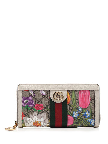 Gucci Ophidia GG Flora Zip Around Wallet