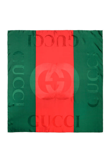 Gucci Contrast Striped Logo Scarf