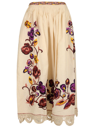 Ulla Johnson Embroidered Midi Skirt