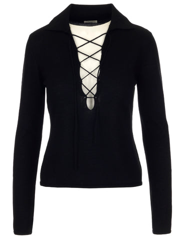 Saint Laurent Lace-Up Collar Pullover