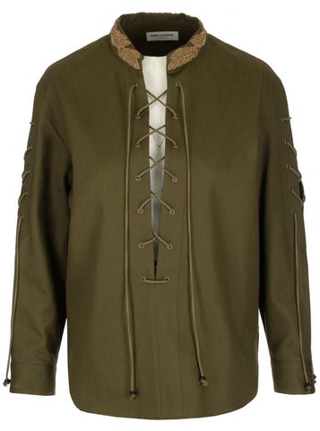 Saint Laurent Embroidered Rope Detail Shirt