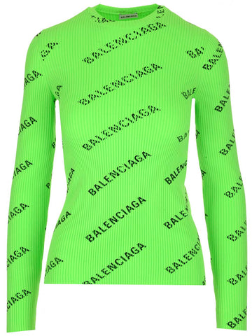 Balenciaga All Over Logo Longsleeved Top