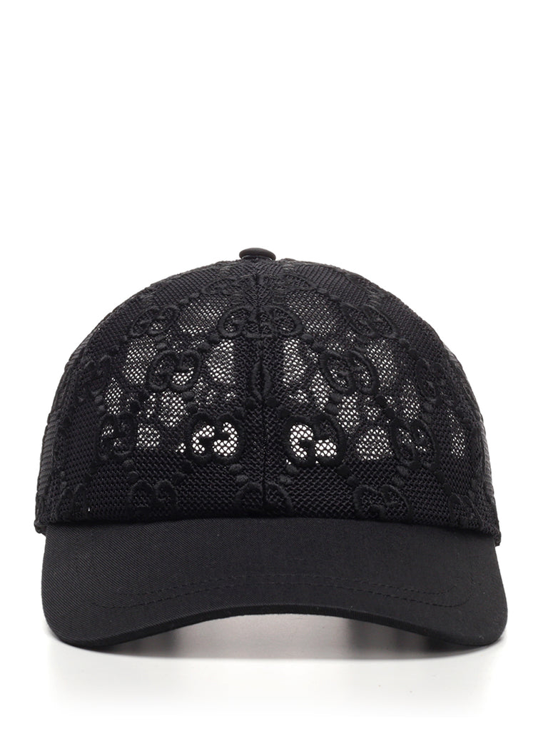 Gucci GG Mesh Embroidered Baseball Cap