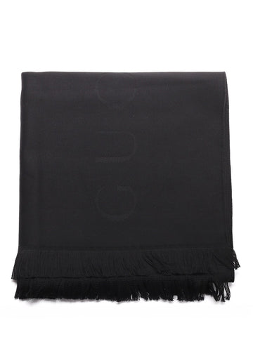 Gucci Logo Embroidered Fringed Scarf
