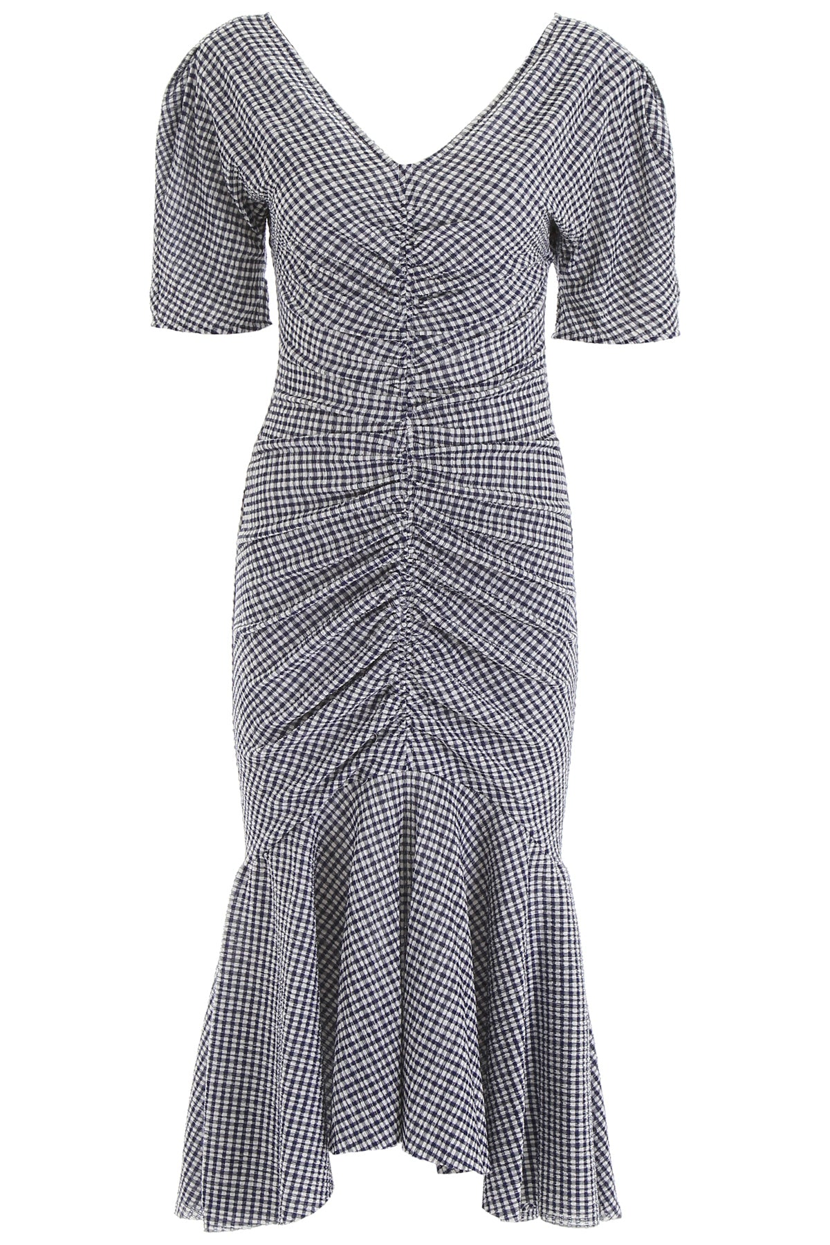 Staud Dresses STAUD V NECK GINGHAM PRINT DRESS