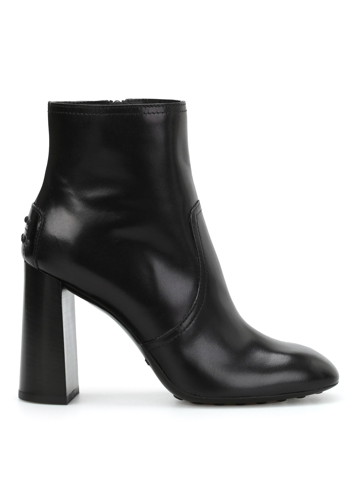 TOD'S SQUARE HEEL LEATHER ANKLE BOOTS