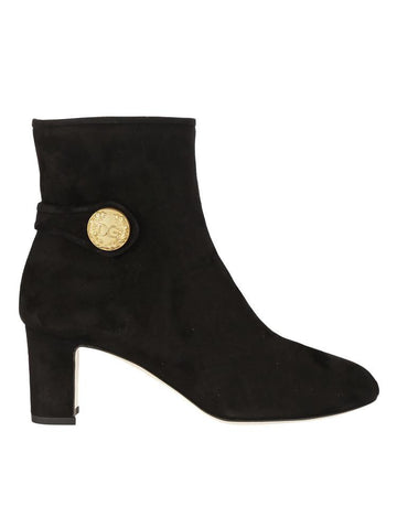 Dolce & Gabbana Suede Button Embellished Ankle Boots