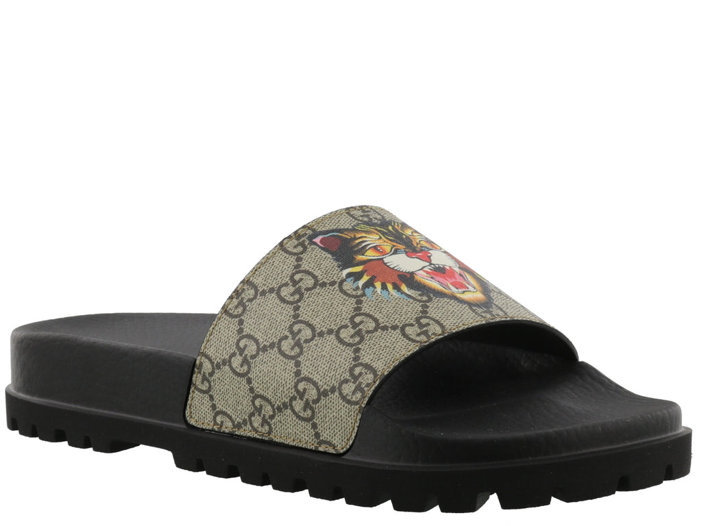 012b1df805d8 Gucci GG Supreme Angry Cat Slides – Cettire