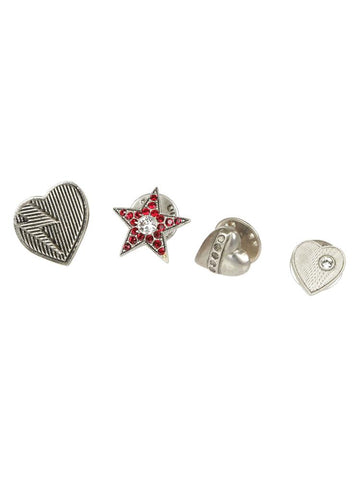 Saint Laurent Set Of Five Heart and Star Shaped Pins