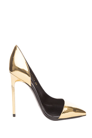 Superior Saint Laurent Leather Metallic Snake effect Pumps Metallic