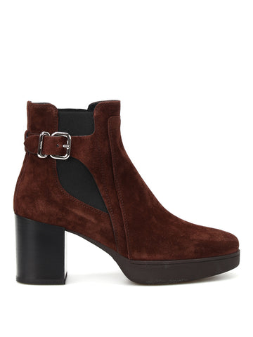 Tod's Buckle Detail Heeled Suede Ankle Boots