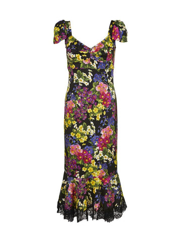 Dolce & Gabbana Floral Pattern Fitted Fishtail Dress