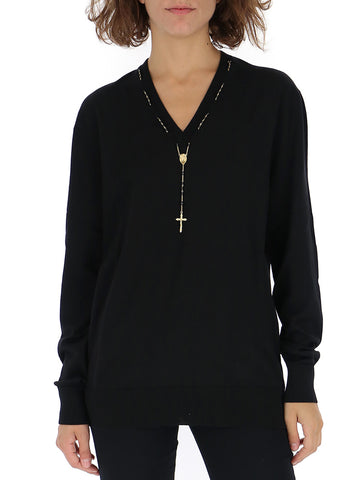 Dolce & Gabbana Rosary Detail V Neck Sweater