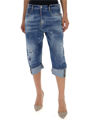 Dsquared2 Kawaii Distressed Bleach Cropped Jeans