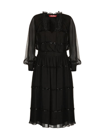 Max Mara Studio Elegante Sequin Embroidered Sheer Dress