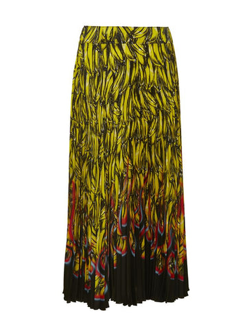 Prada Banana Flame Print Pleated Skirt