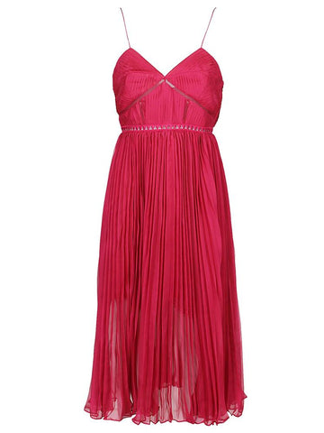 Self-Portrait Spaghetti Strap Pleated Midi Dress