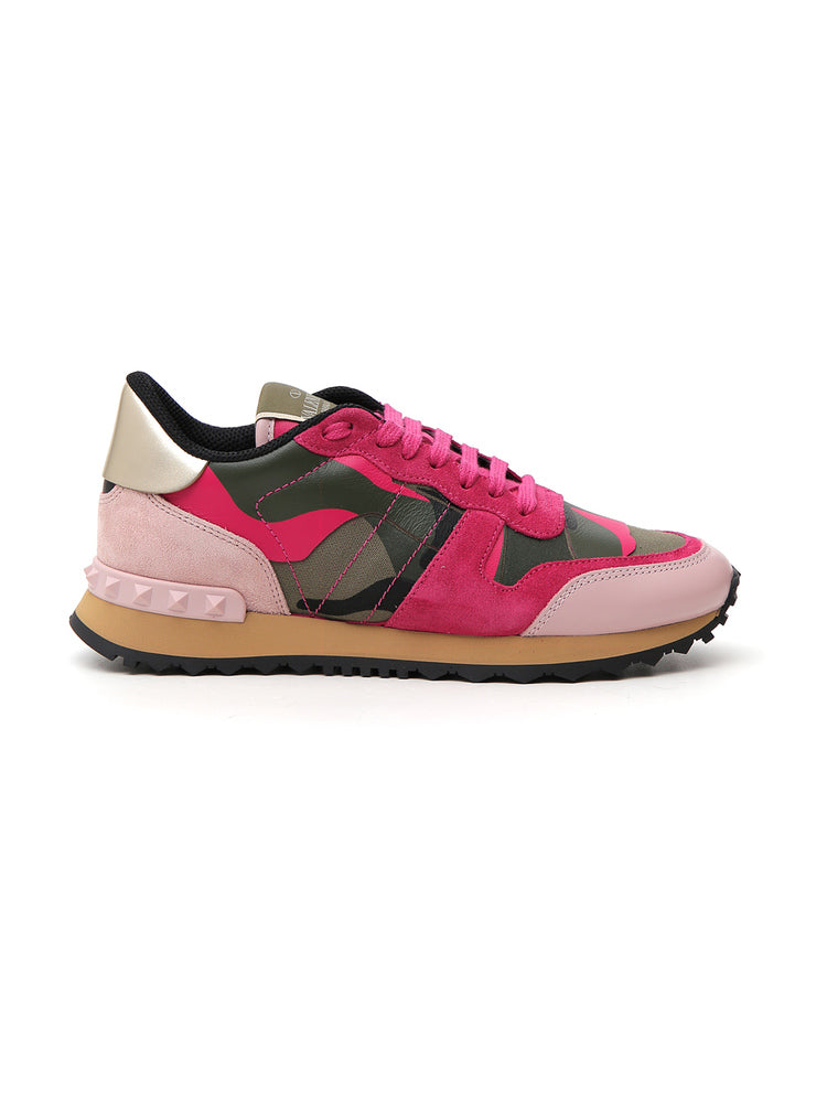 Valentino Garavani Rockrunner Camouflage Sneakers, Army Green-Disco Pink