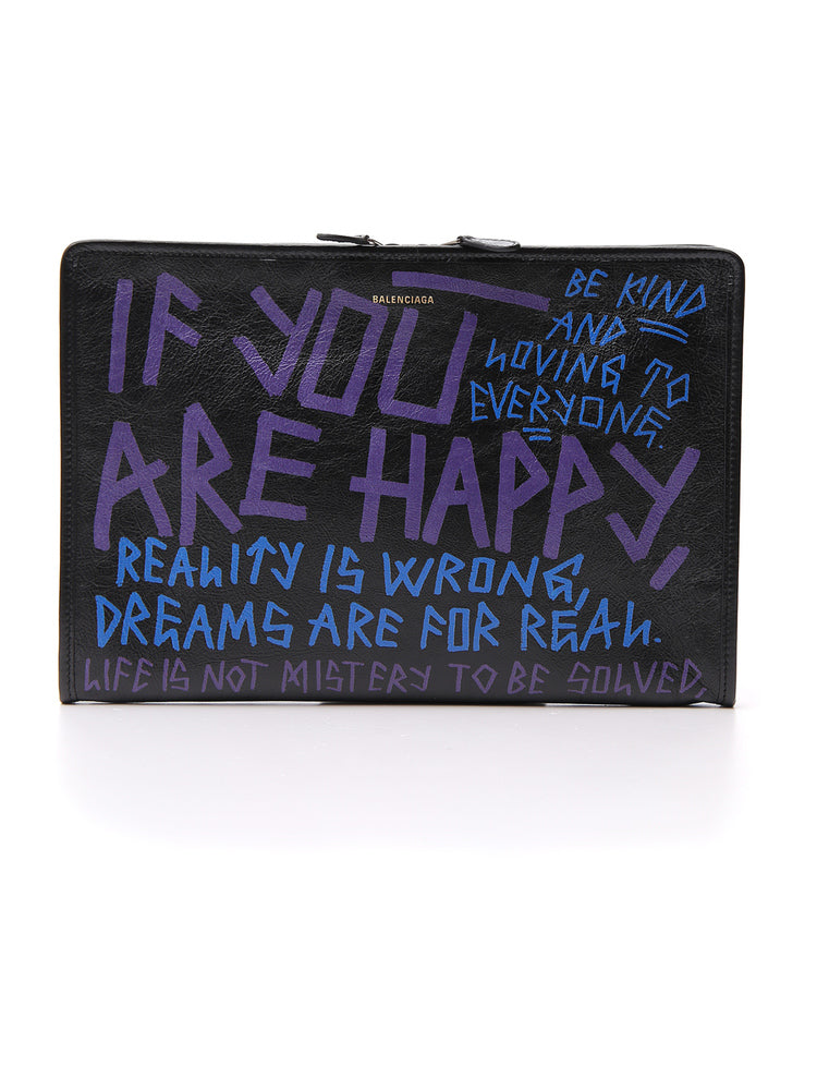 BALENCIAGA BAZAR GRAFFITI CLUTCH BAG