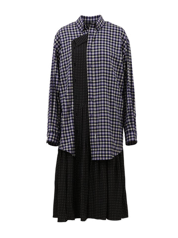 Balenciaga Pleated Panel Shirt Dress