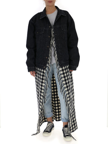 Balenciaga Fringed Cape Denim Jacket