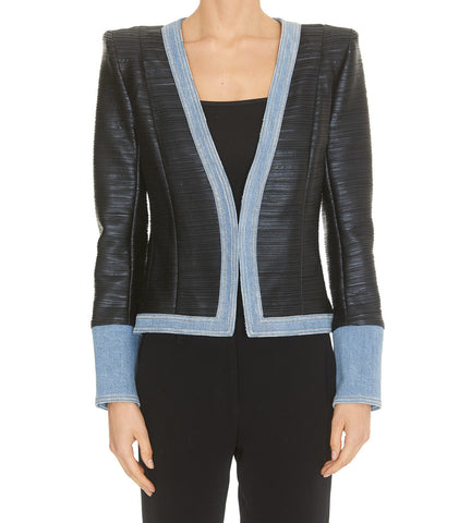 Balmain Contrast Trim Long Sleeve Jacket