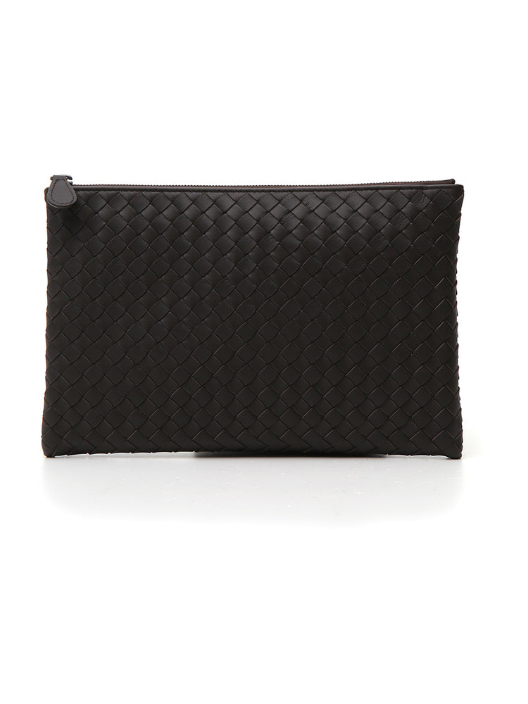 1355c89cb6 Bottega Veneta Woven Zipped Leather Clutch – Cettire