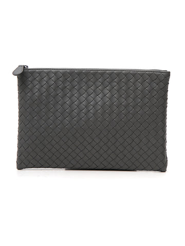 Bottega Veneta Woven Zipped Leather Clutch