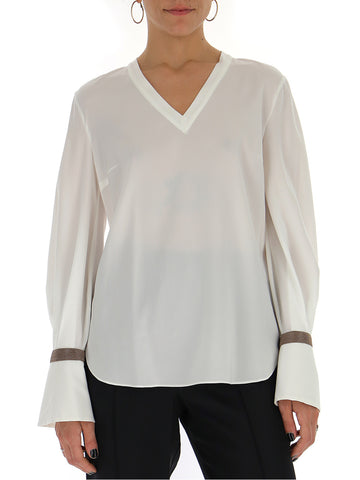Brunello Cucinelli Beaded Cuff Sleeve Blouse