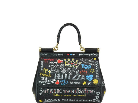 Dolce & Gabbana Graffiti Sicily Top Handle Bag