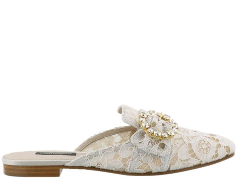 Dolce & Gabbana Lace Embellished Buckle Slippers