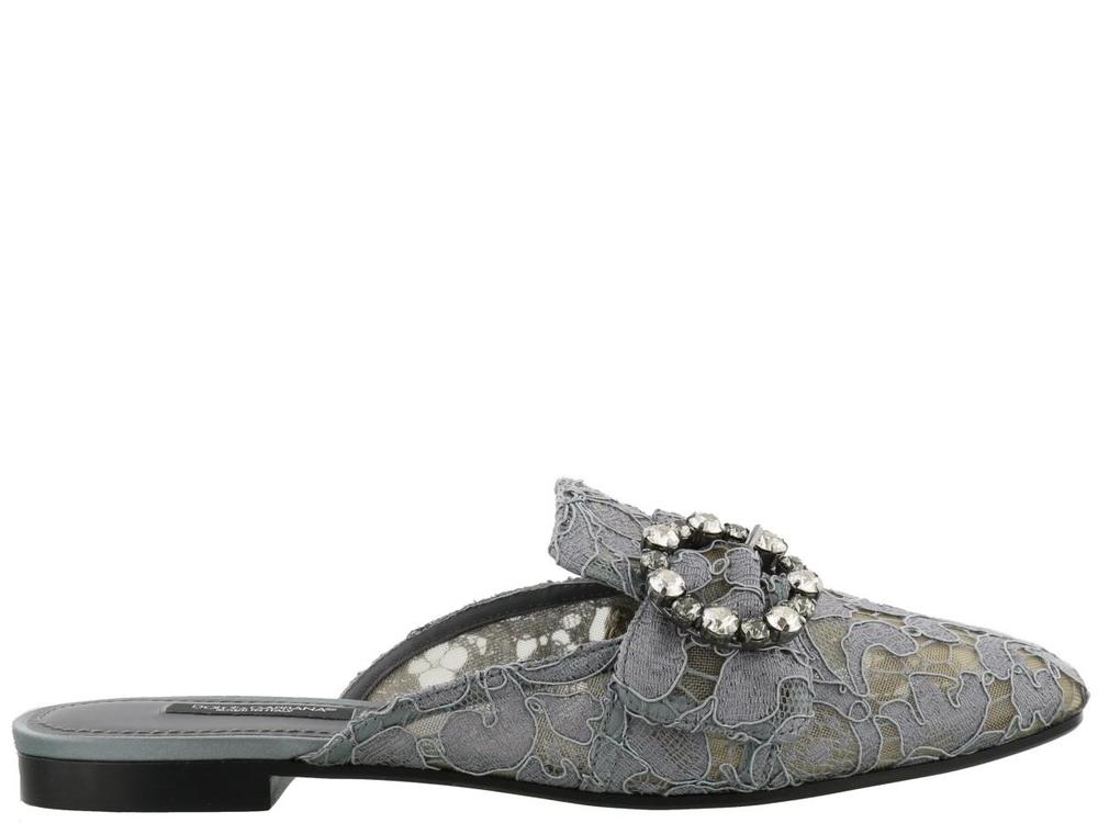 aa9f297be9a32 Dolce & Gabbana Lace Embellished Buckle Slippers – Cettire