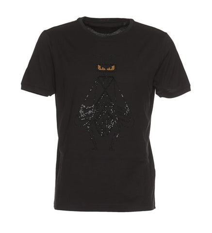 Fendi Embroidered Crystal Embellished Super Bugs T-Shirts