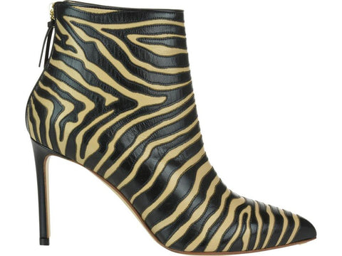 Francesco Russo Zebra Print Pointy Boots