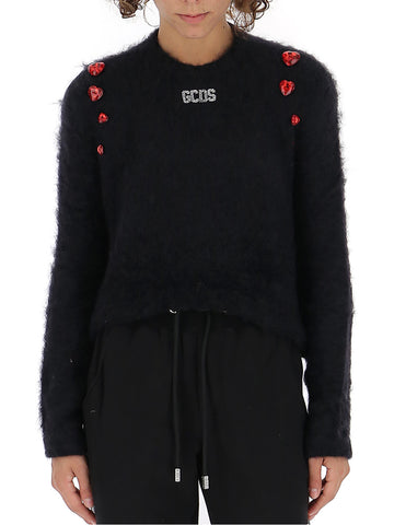 GCDS Heart Embellished Cropped Sweater