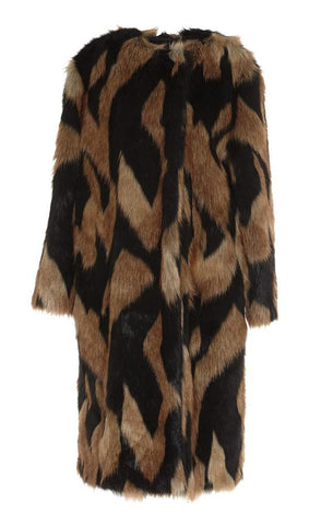 Givenchy Graphic Faux Fur Coat
