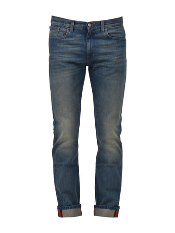 Gucci Web Trim Straight Leg Jeans