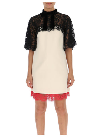 Gucci Lace Panelled Straight Fit Dress